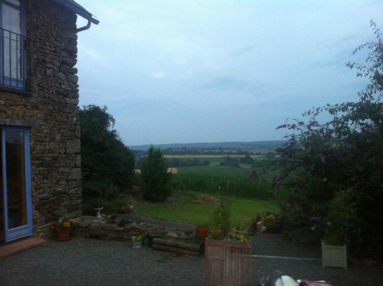 Saint-Martin-de-Connee, France : View out from the outside dining area