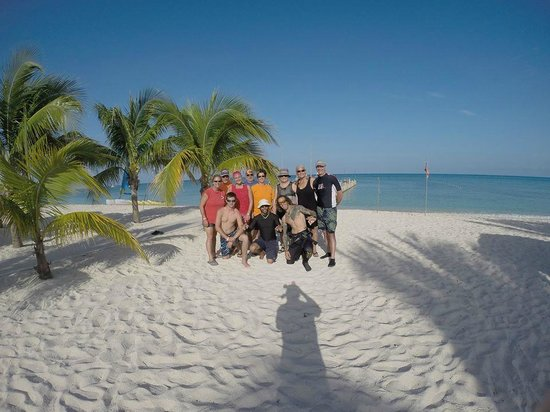 Allegro Cozumel: photo of our group on the Allegro's beach prepping for our last dive