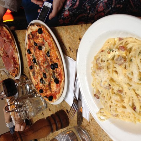 Corrieri's Cafe: Carbonara, and lovely pizzas!
