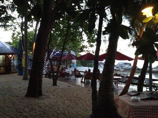Coral View Island Resort: tavoli esterni