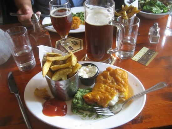 Merrys Gastro Pub : Beer-Battered Fish & Chips with Mint Mushy Peas