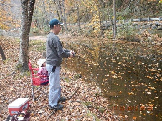 Cherokee / Great Smokies KOA: Husban fishing at pond