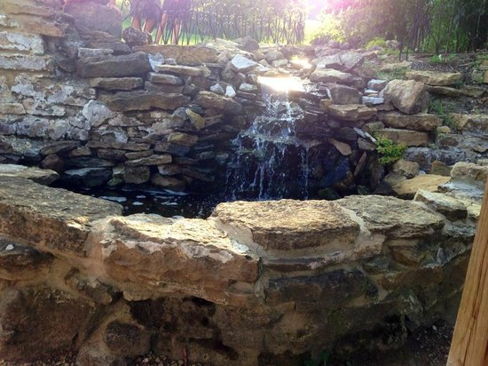 The Stone Barn: sweet little waterfall near our table