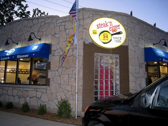 Steak n egger : Former entrance, now an LED marquee (Copyright 2012 by M.R. Traska; all rights reserved)