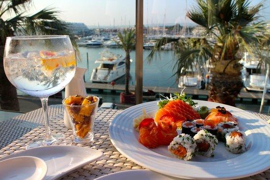 Tivoli Marina Vilamoura: sushi on the outdoor bar, what a view.