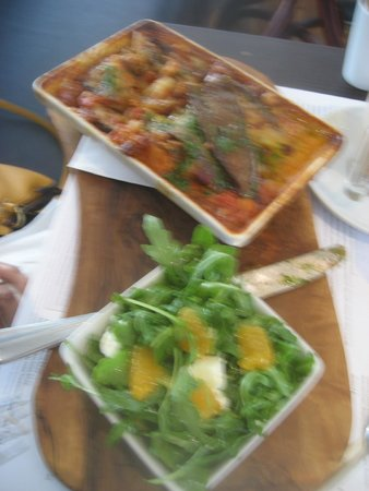 Market Lane : Vegetarian Moussaka with Aubergine, Fennel, Spiced beans, Lentils, etc., with Orange & Rocket Sa