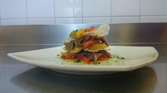 Tafarn y Gader Tapas, Bistro & Bar: cold lasagne with marinated tuna, anchovies and fried peppers. Beautiful and taste dish !!