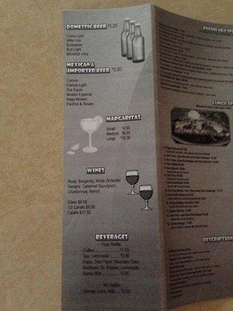 Pueblo Viejo Mexican Restaurant: menu