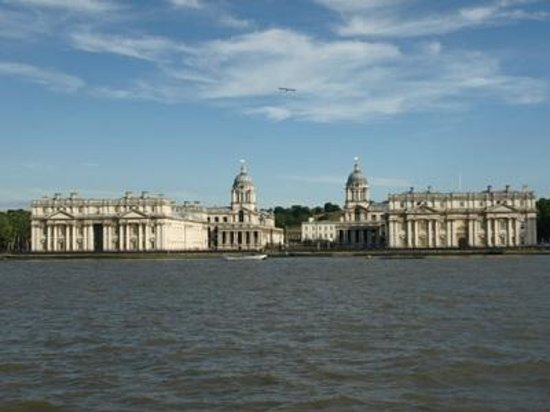 Greenwich Foot Tunnel: View back from the Isle of Dogs, looking at the Royal Naval College