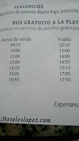 Aparthotel Paradise Island: horario bus playa