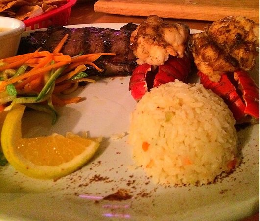 Cabo Cantina : 2 Lobster Tails with NY Steak 