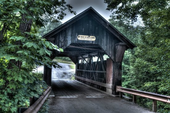 Gold Brook Covered Bridge (Emily's Covered Bridge): Easy to get to and easy parking on both sides of the bridge.