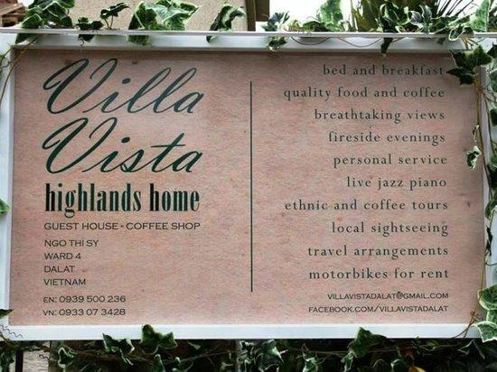 Villa Vista Hotel: Sign