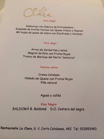 La Clara Restaurant : The menu