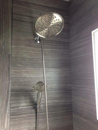 Blue Bay Motel: Room 14 - fully renovated bathroom with modern shower.