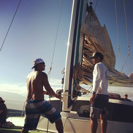 Sail Maui : my Husband helping put up the sail, great crew interaction with the guest
