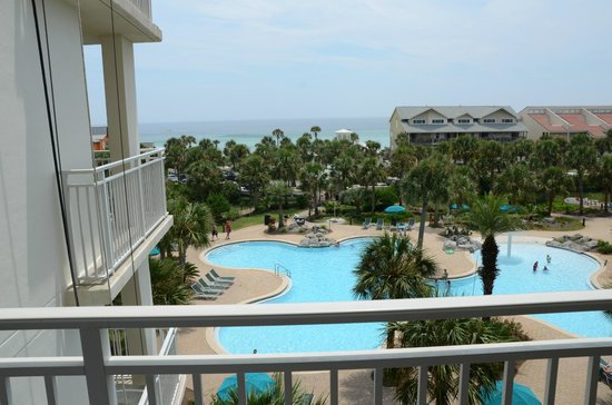 Sterling Shores: View from 413 balcony.   Right over the pool.