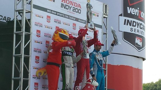 Mid Ohio Sports car course : Winners: Dixon came from last to 1st to win, Bourdais #2, Hinchcliffe #3