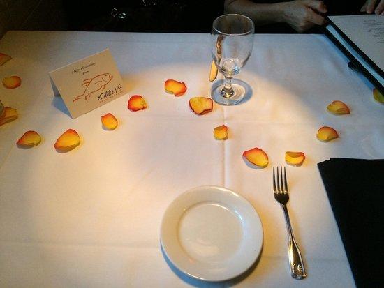 Eddie V's Prime Seafood: Anniversary prep'd table
