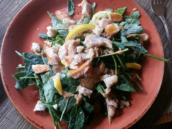 The Settlers Inn: Trout and Baby Kale Salad w/Hazelnut Brittle