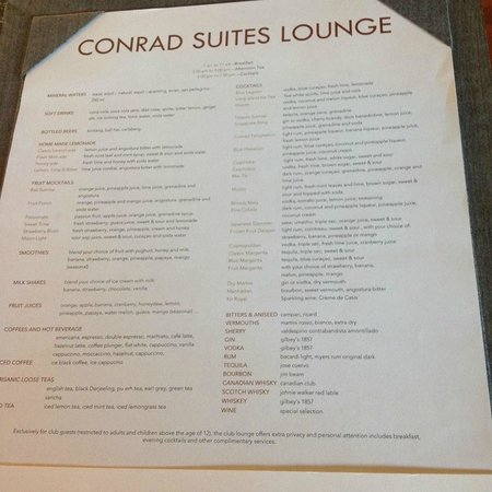 Conrad Bali : Just part of the extensive cocktail menu
