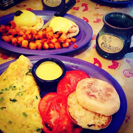 Over Easy Café: The famous crab asparagus omelet  Grilled shrimp egg Benedict. Smith family vacation 2014