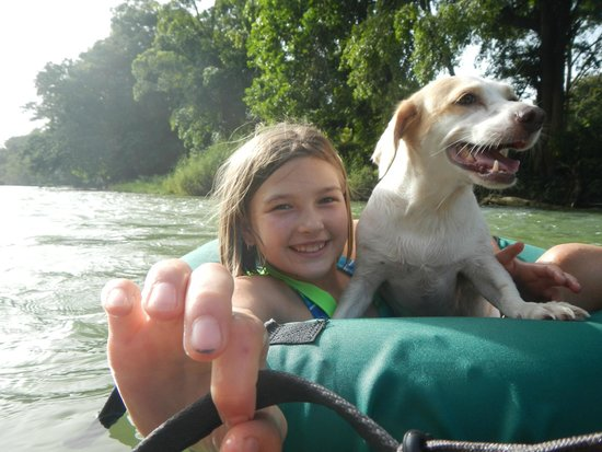 Parrot Nest Lodge : Pali the dog likes to tube on the river!