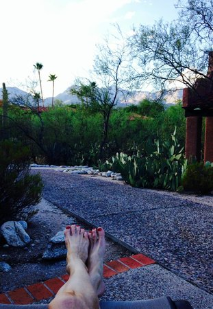 Canyon Ranch in Tucson: Lounging at dusk. My room is the red structure at right edge of photo
