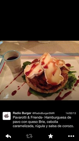 Radio Burger: Turkey burger with brie, caramelized onions, tomato, arugula and corozo (local berry similar but