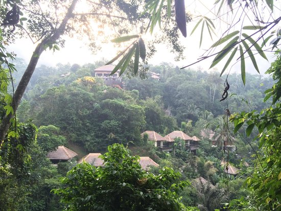 Hanging Gardens of Bali: The view of the hotel from the temple across