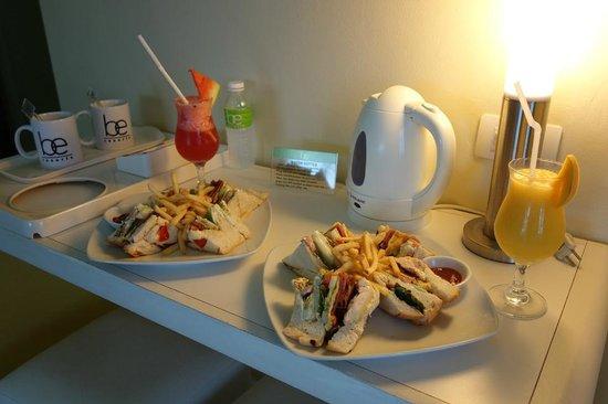 Be Resorts - Mactan: Room service: club sandwiches, watermelon juice, mango juice (918 pesos)