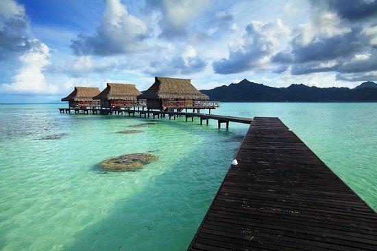 Vahine Island Resort : .vue des bungalows sur pilotis de jour