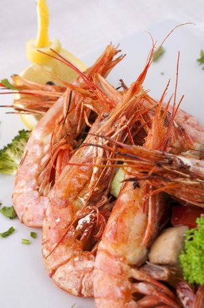 Hotel Adrovic: Restaurant Adrovic- Sveti StefanGrilled prawns