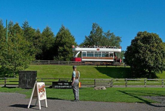 Beamish Museum: Blackpool tram 31 circuits the museum