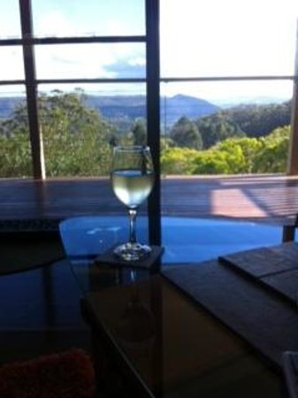 Blue Summit Cottages : Wine and view