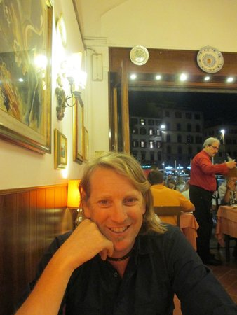 Il Bargello: Dining inside with our fabulous waiter in background
