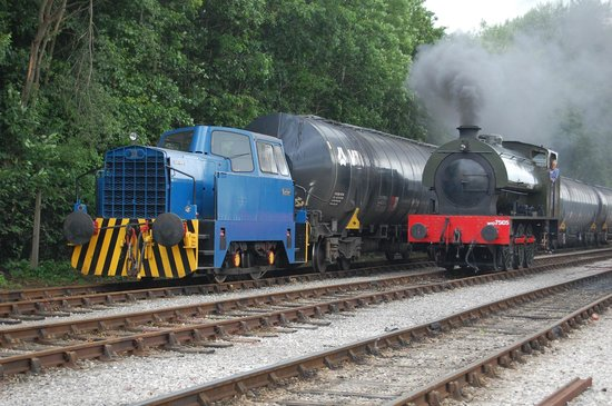Ribble Steam Railway: 'Walkden' passing a Bitumen tanker train