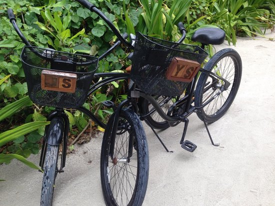 Four Seasons Resort Maldives at Landaa Giraavaru: Bikes with your initials - awesome touch