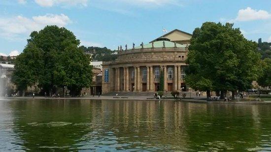 The Schlossgarten lake and architecture