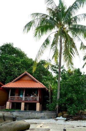 Sea Sunset Resort: Vue de la plage les pieds dans l'eau du bungalow 1...