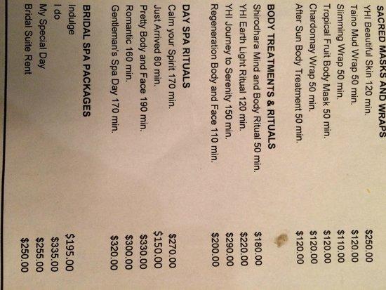 The Reserve at Paradisus Punta Cana : Spa menu