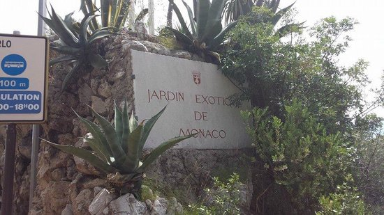 Exotic Garden (Jardin Exotique): Sign by the west side of the building