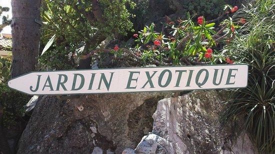 Exotic Garden (Jardin Exotique): Sign at the east side main entrance