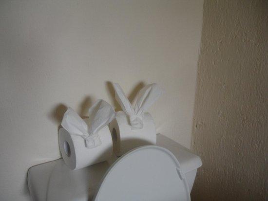 Villablanca Garden Beach Hotel : Bathroom bunnies