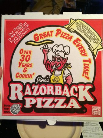 Jim's Razorback Pizza: Pizza to-go box