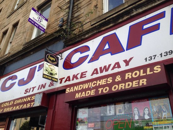 CJ's Cafe: Great family run cafe in the Dalry area of Edinburgh , not far from Haymarket train station. Fre