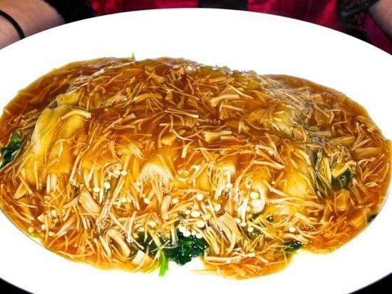 Hua Ting Chinese Restaurant : Bamboo pith stuffed with shimeji mushrooms.