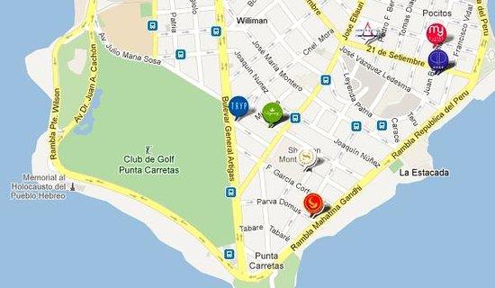 Regency Golf Hotel: Mapa de la zona del hotel (Punta Carretas) HERMOSO BARRIO