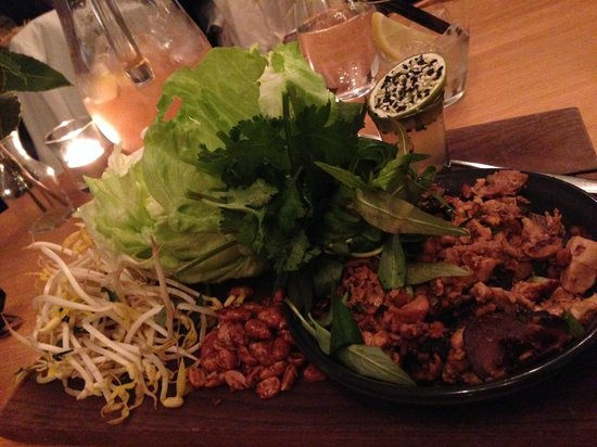 Captain Baxter: chicken san choy bow, lettuce, herbs, peanuts & nouc cham