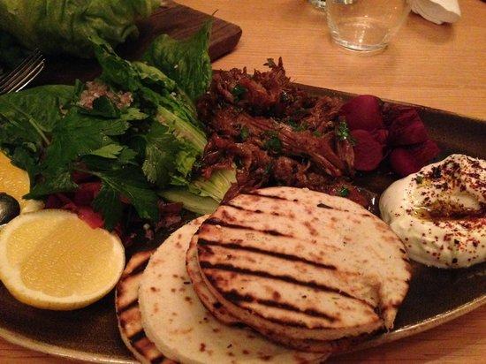 Captain Baxter: pulled lamb shawarma with tahini yoghurt & flatbreads